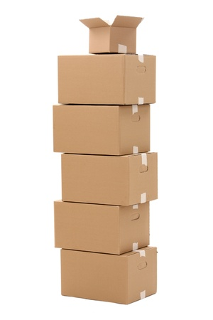 Cardboard boxes isolated over white background Stock Photo - 17721411
