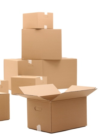 Cardboard boxes isolated over white background Stock Photo - 17721425