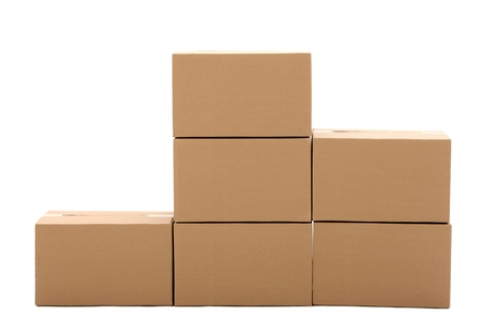packer: Cardboard boxes isolated over white background