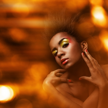glamour luxury: Beautiful black woman with glossy wet makeup Stock Photo