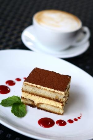 Fresh cake on a plate photo