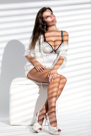 Elegant woman in lingerie is posing while sitting on a sofa chair photo