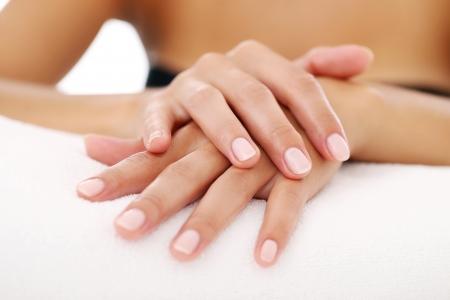 Foto de hermosas manos de la mujer con la manicura Foto de archivo - 23006064
