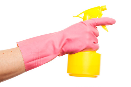 gloving up: Hand in a pink glove holding spray bottle isolated over white background