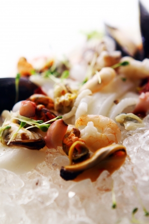 Fresh various seafood served on ice in restaurant photo