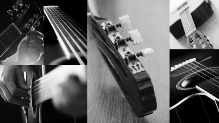 metal music: Closeup black and white pictures of a guitar in different angles