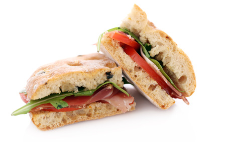 Picture of two delicious sandwiches over a white background Stock Photo