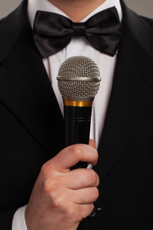 Master of ceremonies with microphone photo