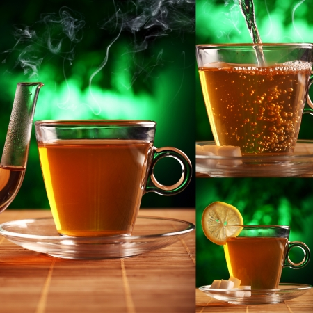 A cup of coffee with a slice of lemon and a teapot nearby is on the table over a mystical greenish background photo