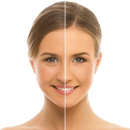 piel rostro: Lindo, mujer seria con la piel perfecta, limpia