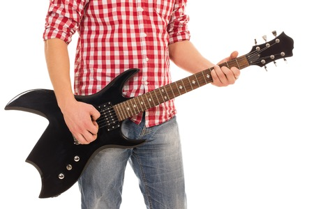 Music, close-up  Musician with electro guitar photo