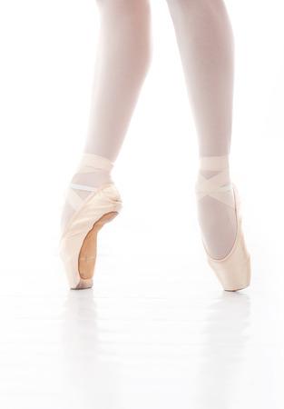 ballet dancing: Beautiful ballerina s feet in action Stock Photo