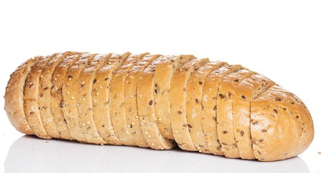 Bakery  Delicious bread on white background photo