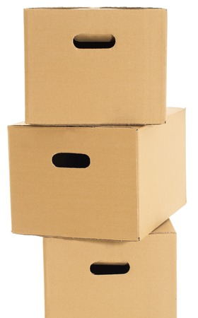 Few carton boxes on the white background photo
