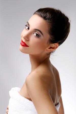 Gorgeous woman with red lipstick photo