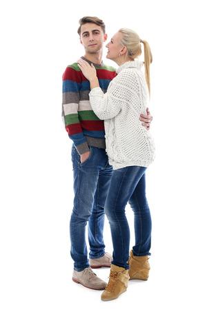 Cute man and beautiful girl having hugs photo