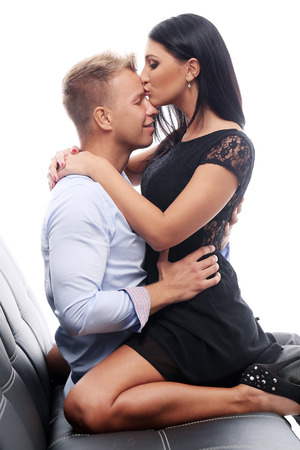 Hot and sexy couple having a photo session in studio photo