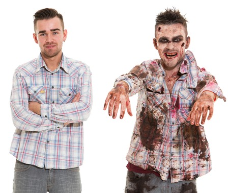 Before and after  Creepy zombie cosplay