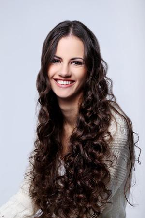 curls: Cute woman with curls