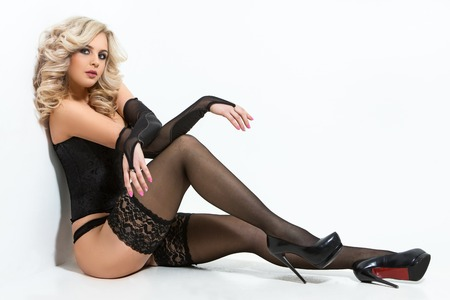Beautiful woman in black lingerie photo