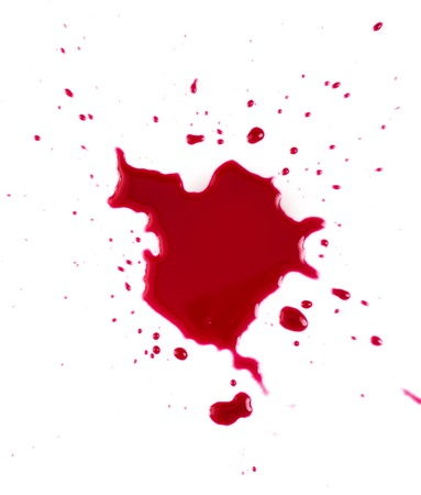 blade cut:    Red blood on white background Stock Photo