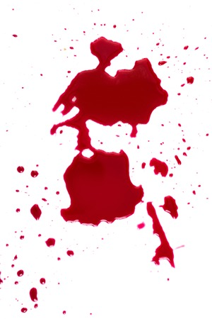 die cut:   Red blood on white background Stock Photo