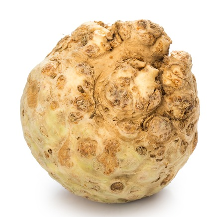 celery root: Vegetable  Celery root isolated on white  Stock Photo