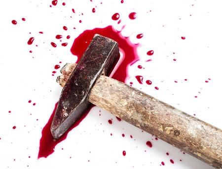 Murder  Red blood on white background