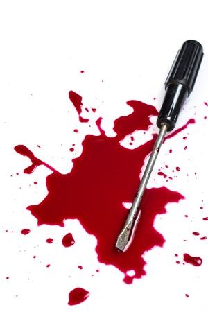 die cut: Murder  Red blood on white background