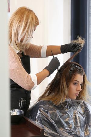 Hairdresser salon  Woman during haircut