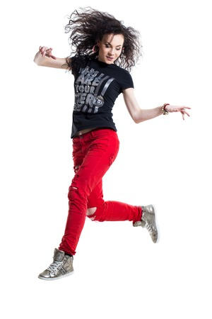 Hip-hop dancer on a white background photo