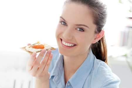 Morning  Attractive woman with delicious breakfast