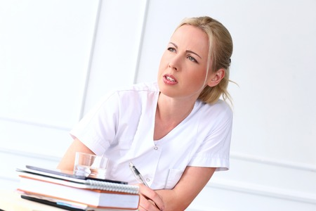 cosmetologist: Professional  Beautiful cosmetologist on a white background