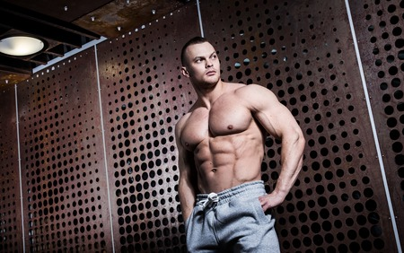 Fitness, bodybuilding  Powerful man with perfect body Stock Photo