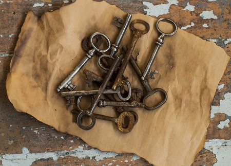 Vintage  Old, rustic keys on the table photo