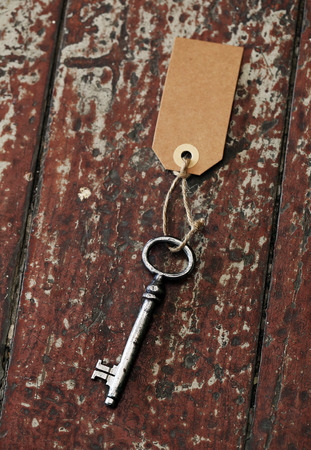 Vintage  Old, rustic key on the table photo