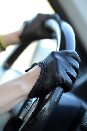 leather gloves: Car, auto  Racer in black, leather gloves Stock Photo