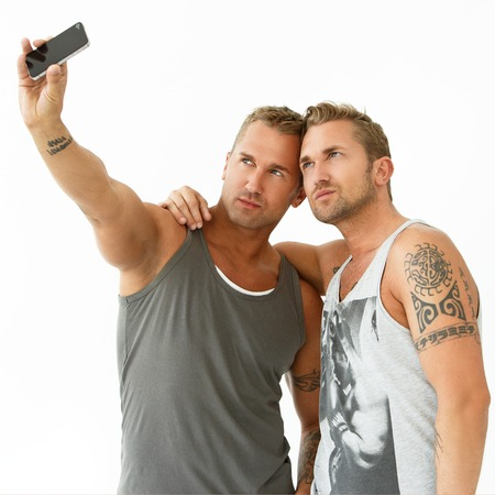 twin house: Happy, best friends make a selfie