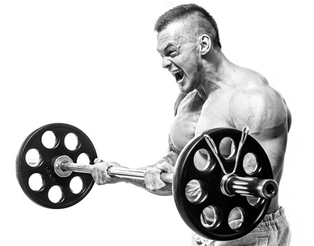 Fitness, Bodybuilding Leistungsstarke Mann während des Trainings