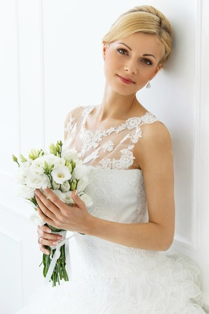 Wedding  Attractive bride with wide smile photo