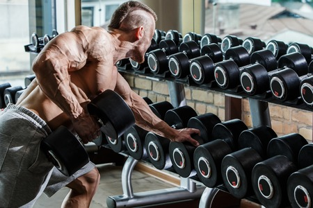 male bodybuilder: Fitness, bodybuilding  Powerful man during workout
