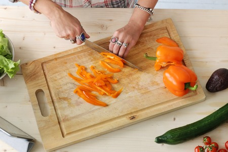 Food  Woman making salad photo