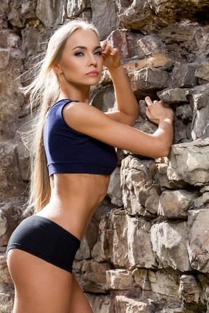 Fitness, beauty  Sexy girl with perfect body