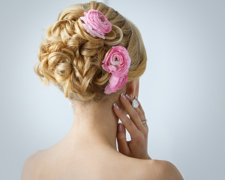 ear rings: Wedding  Attractive bride with beautiful hair Stock Photo