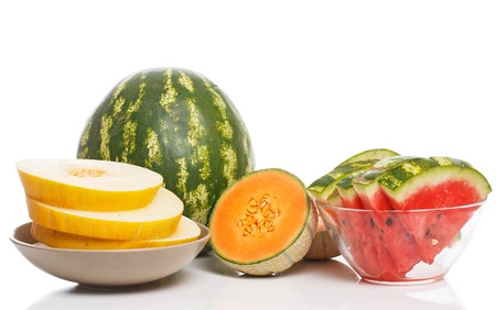 Food, fresh  Watermelon with melon on the table photo