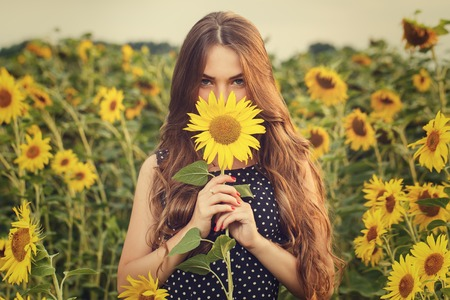 cute young farm girl: Cute girl in the field full of sunflowers