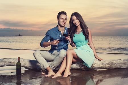 lovely couple: Cute, lovely couple on the beach