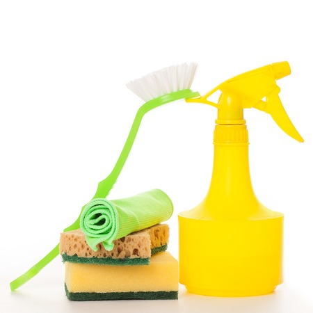 Bright colorful cleaning set on a white background