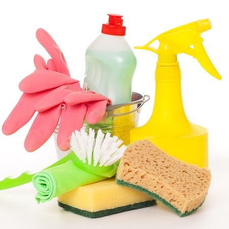 bright housekeeping: Bright colorful cleaning set on a white background