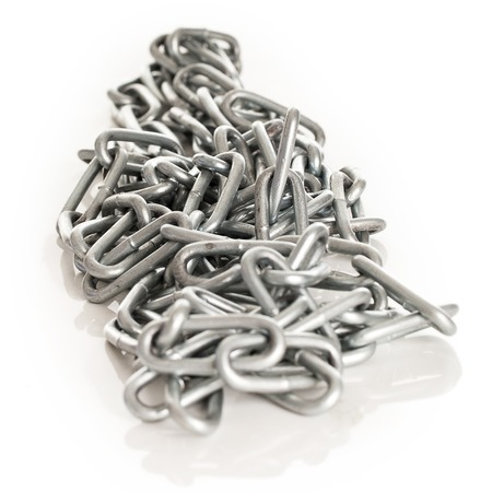 Silver metal chain on a white background photo